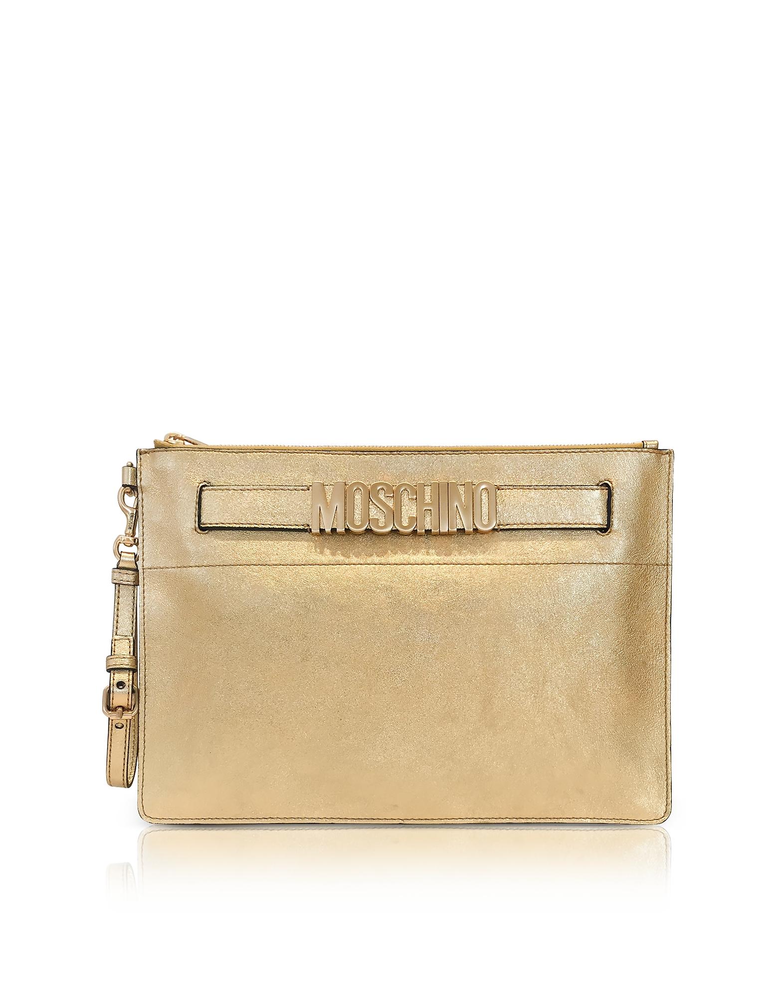 Moschino Handbags, Gold Metallic Leather Clutch w/Signature Logo