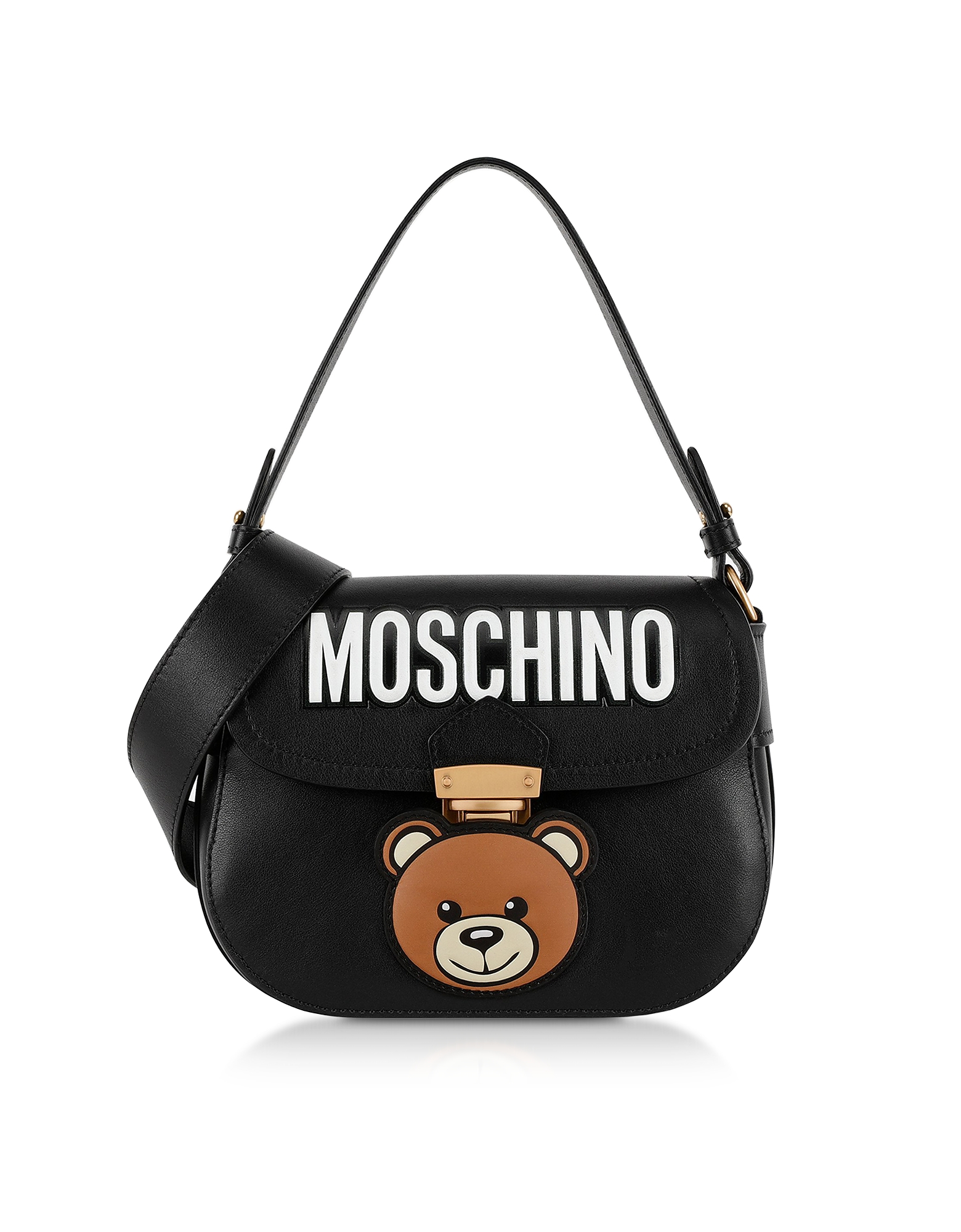ed8978ce20a Moschino Designer Handbags, Black Leather Teddy Bear Shoulder Bag. FORZIERI