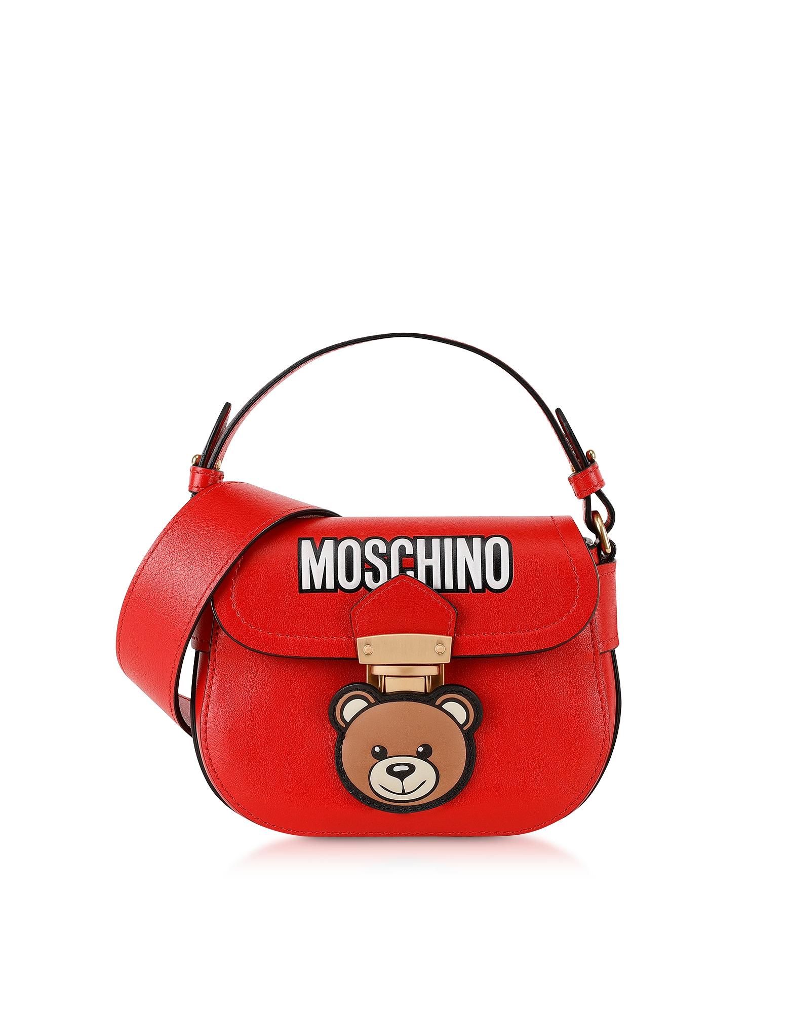 Moschino Handbags, Small Red Leather Teddy Bear Shoulder Bag