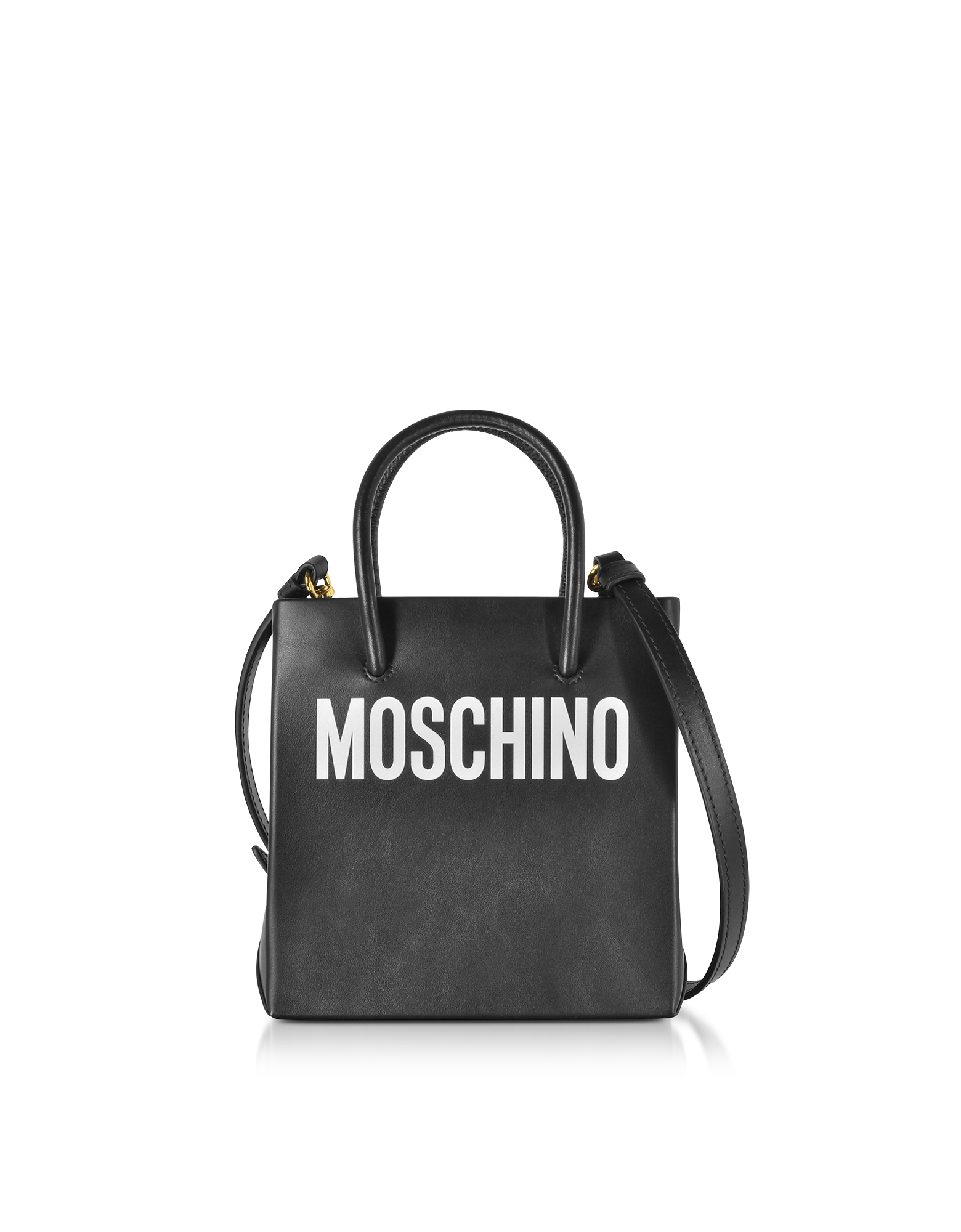 Moschino Handbags, Black Leather Signature Tote Bag