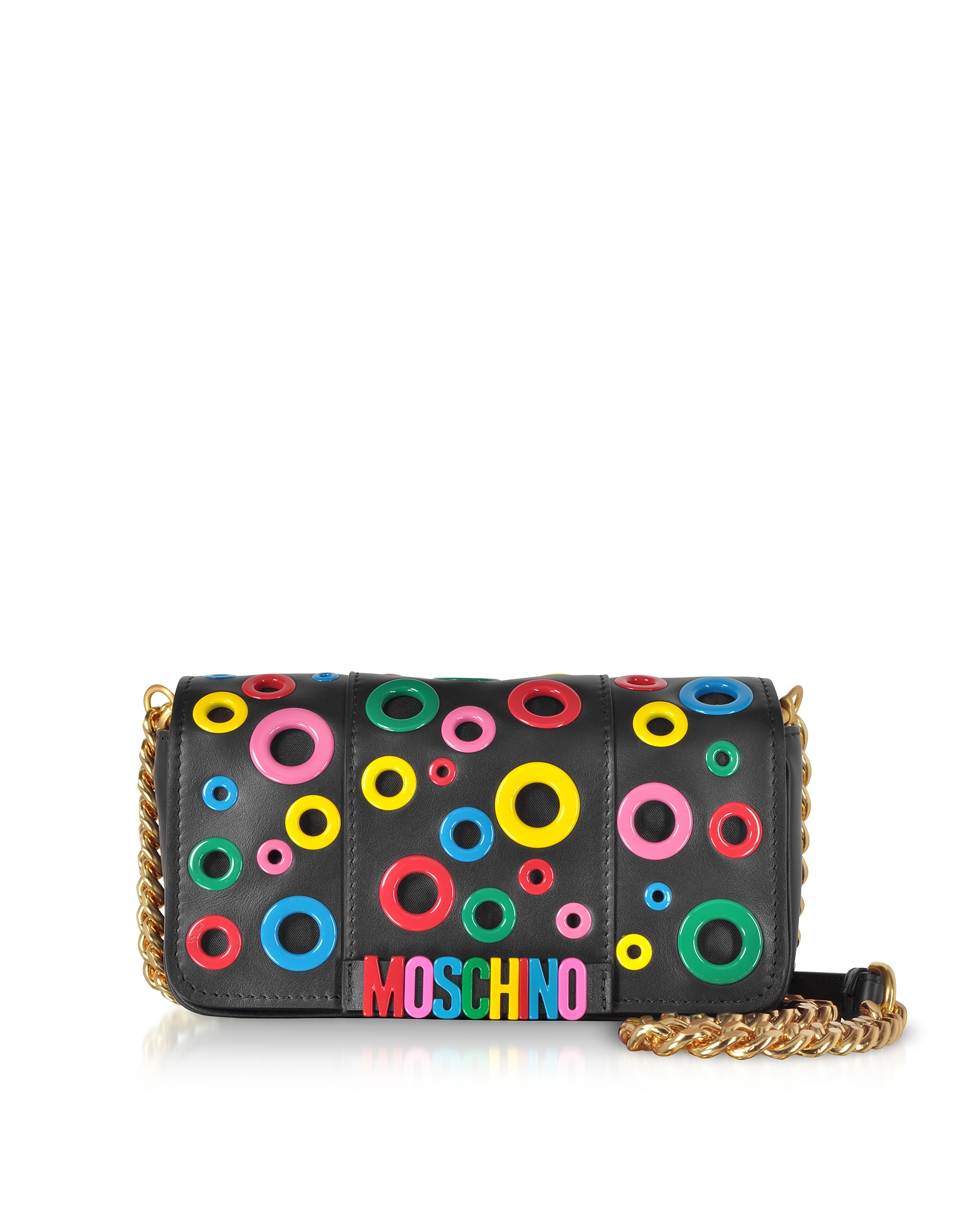 Moschino Handbags, Leather Multicolor Eyelets Shoulder Bag
