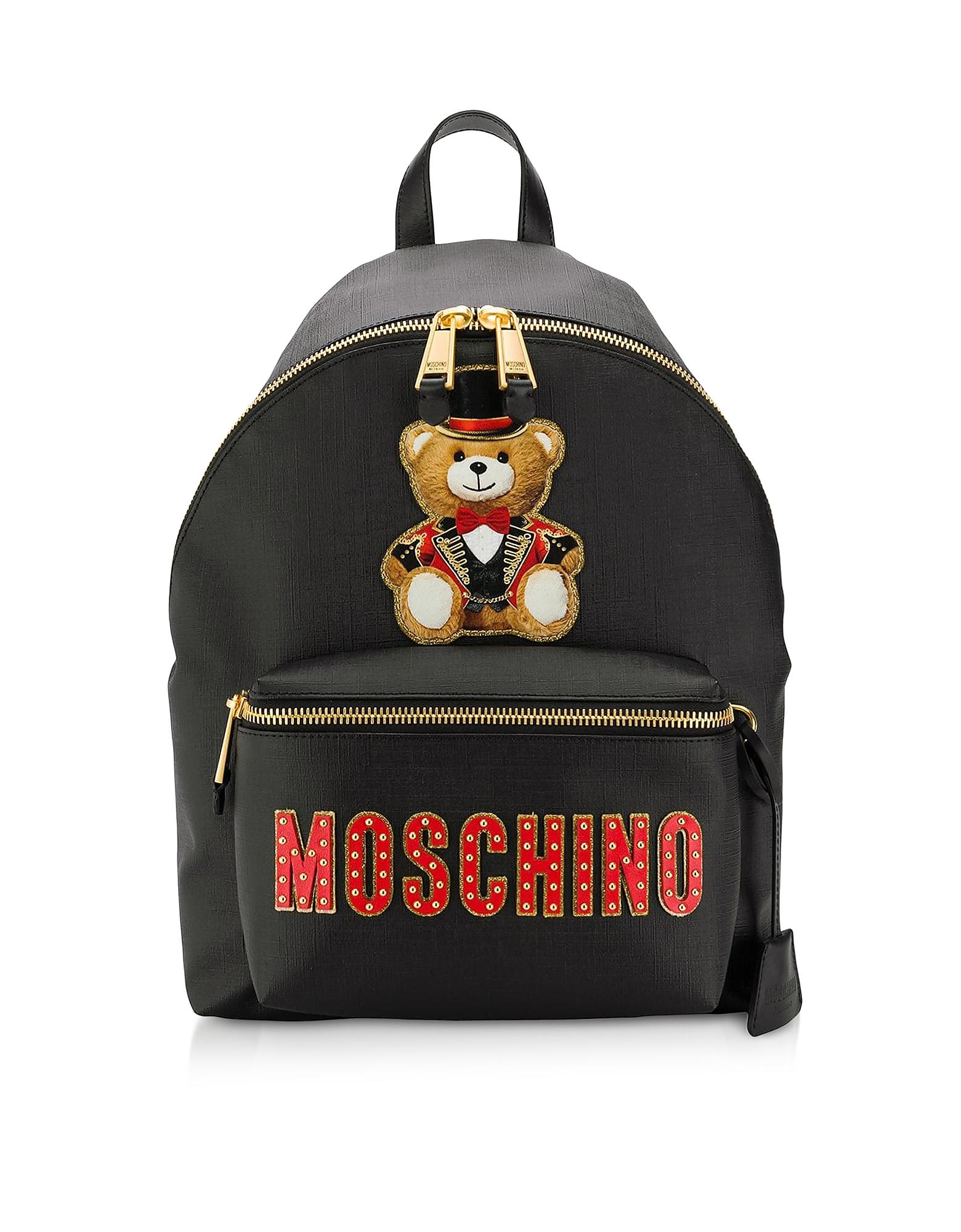 Black Teddy Bear Backpack W&Teddy Circus Patch