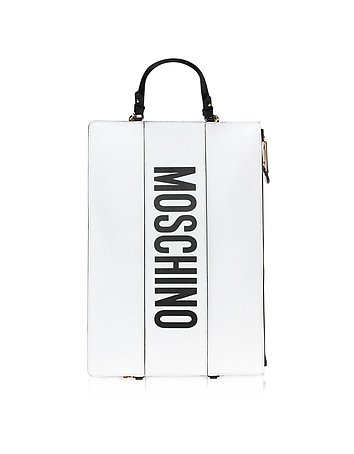 White Leather Flat Backpack