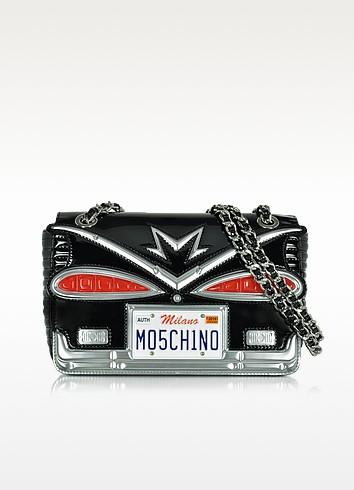 Moschino Couture Milano Black Eco Patent Leather Crossbody Bag - Moschino