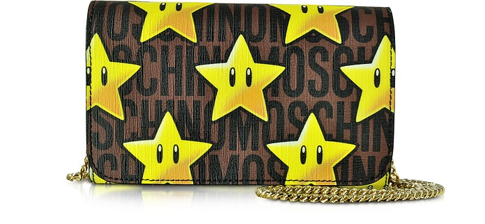 Super Mario Multicolor Printed Wallet Clutch w/Chain Strap - Moschino