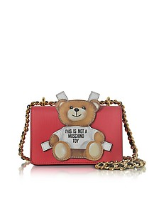 Teddy Bear Red Saffiano Leather Shoulder Bag - Moschino