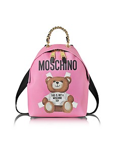 Teddy Bear Pink Saffiano Leather Backpack - Moschino