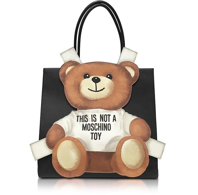 Teddy Bear Saffiano Leather Tote Bag - Moschino