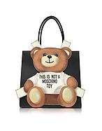 Moschino Shopper in Pelle Saffiano Nera con Patch Teddy Bear - moschino - it.forzieri.com