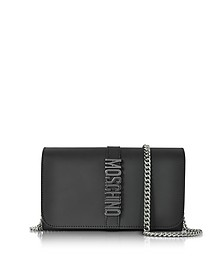 Black Leather Wallet w/Chain Strap - Moschino