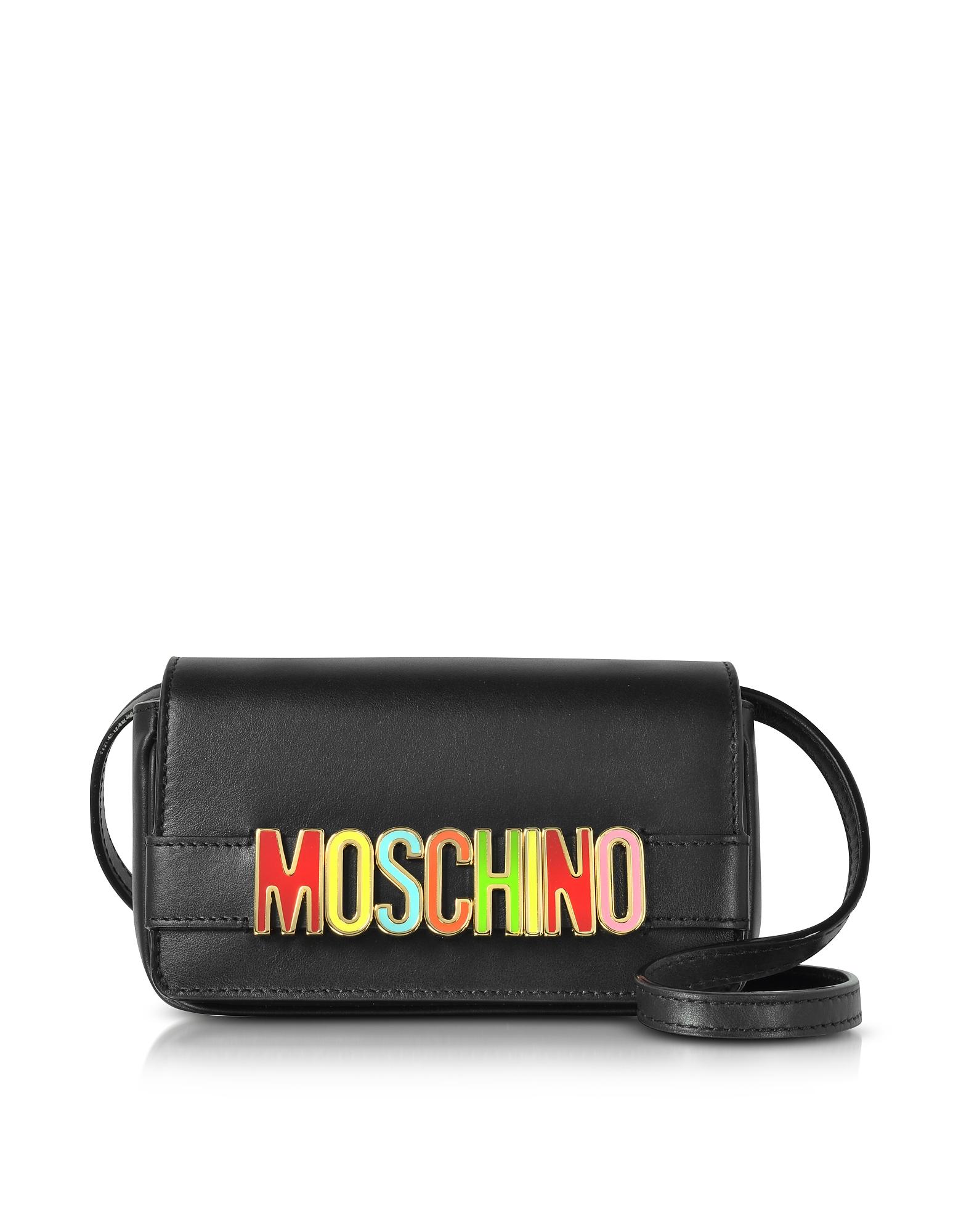Фото Черная Кожаная Сумка Через Плечо с Разноцветным Логотипом. Купить с доставкой
