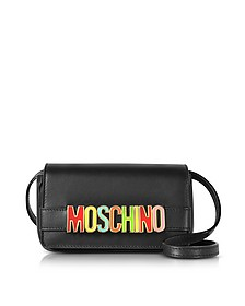 Black Leather Crossbody Bag w/Multicolor Signature Logo - Moschino