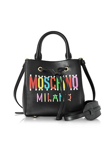Moschino - Black Leather Mini Satchel Bag w/Detachable Shoulder Strap