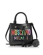 Moschino Mini Borsa a Mano in Pelle Nera con Logo Multicolor - moschino - it.forzieri.com