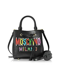 Black Leather Mini Satchel Bag w/Detachable Shoulder Strap - Moschino