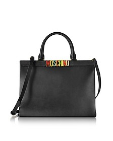 Black Leather Tote w/Detachable Shoulder Strap - Moschino