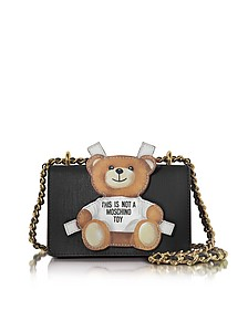 Teddy Bear Black Saffiano Leather Shoulder Bag - Moschino