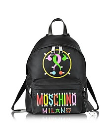 Black Nylon Backpack With Multicolor Printed Signature - Moschino