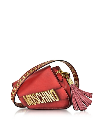 Moschino - Signature Red Leather Asymmetric Clutch