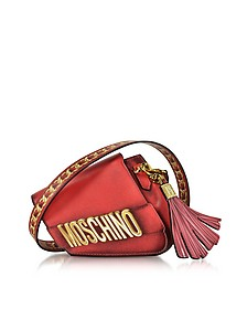 Signature Red Leather Asymmetric Clutch - Moschino