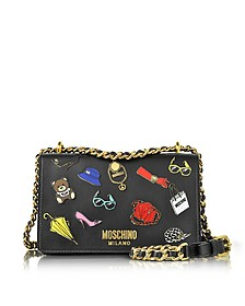 Black Leather Shoulder Bag w/Pins - Moschino