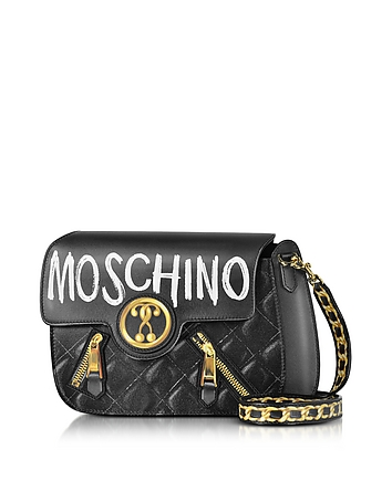 Moschino - Signature Print Leather Crossbody Bag