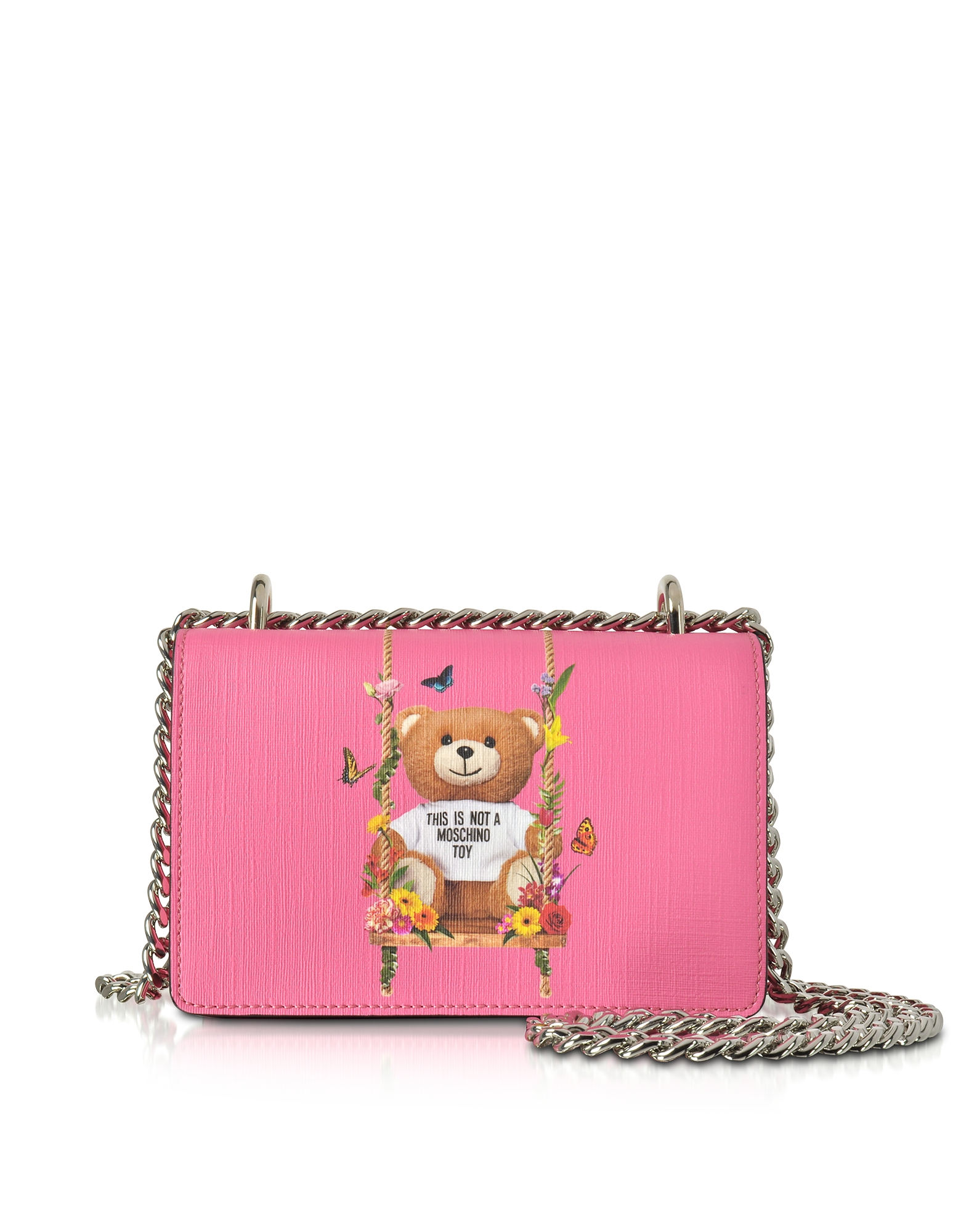 Moschino Handbags, Teddy Bear Pink Eco Leather Crossbody Bag
