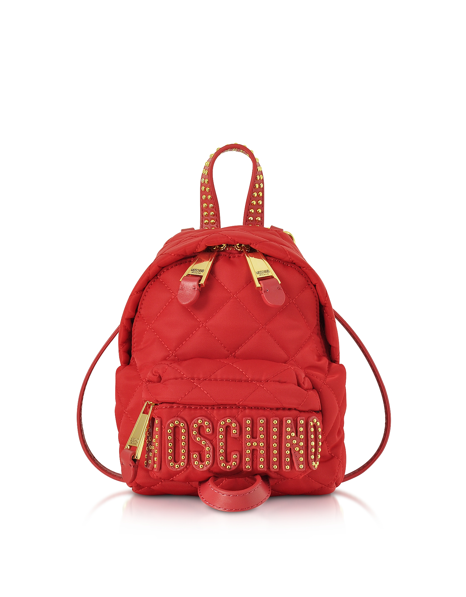 Moschino Handbags, Red Quilted Nylon Mini Backpack w/Studs