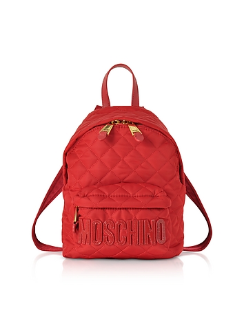 Red Quilted Nylon Small Backpack w/Signature Logo xm130218-028-00