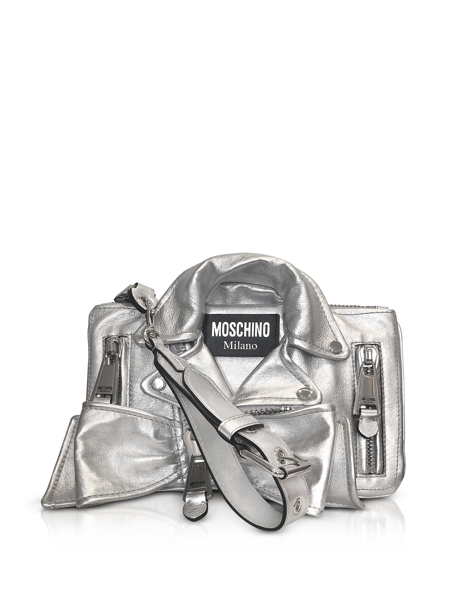 Silver Metallic Leather Biker Jacket Clutch