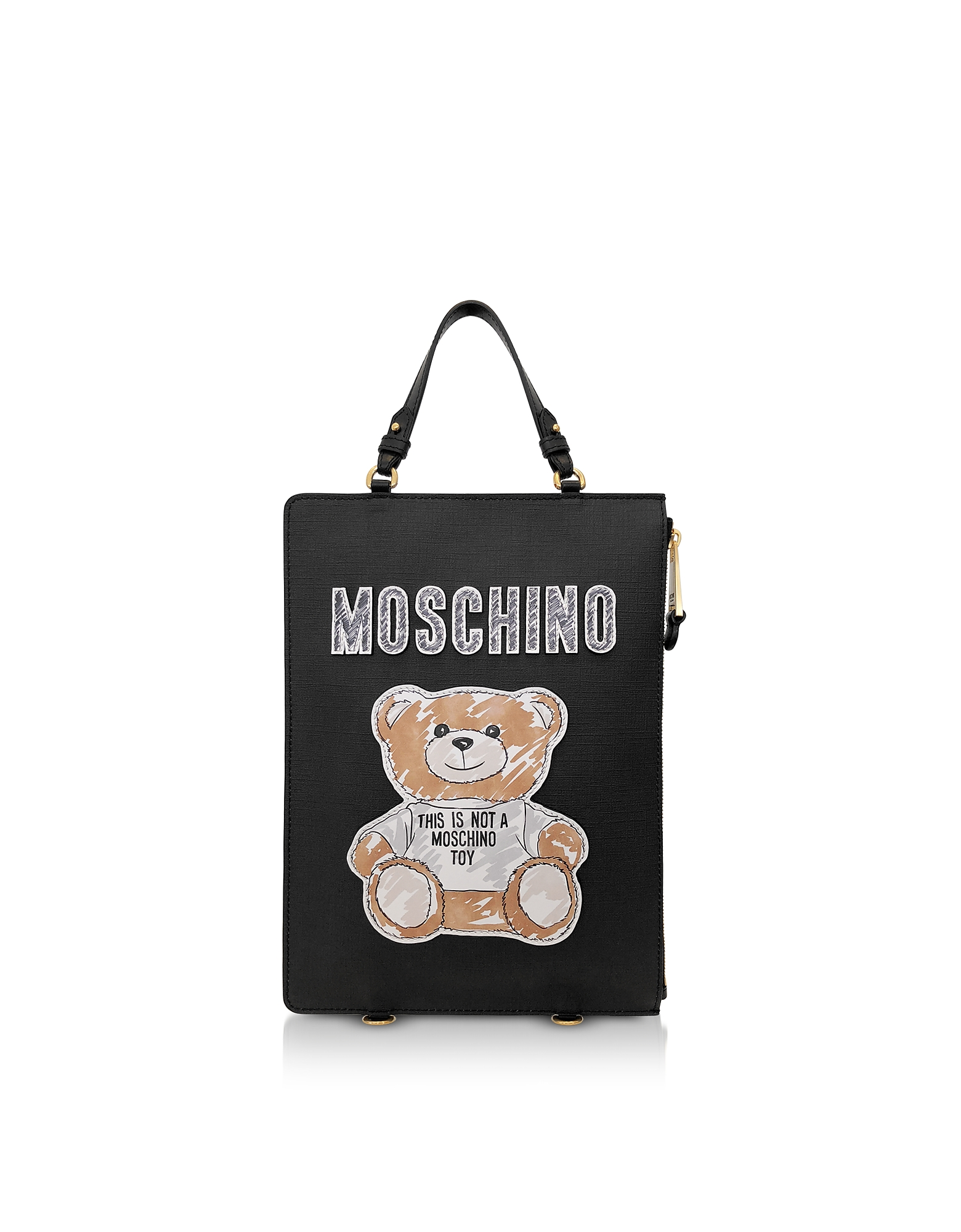 Black Teddy Bear Brushstroke Signature Backpack/Tote Bag