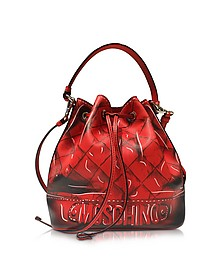 Red Leather Bucket Bag - Moschino