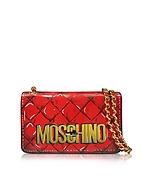 Moschino Borsa con Tracolla in Vernice Rossa Matelassé Stampata - moschino - it.forzieri.com