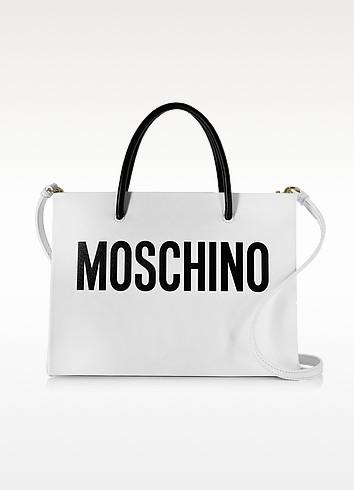 White Leather Tote - Moschino