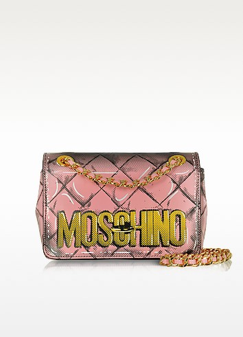 Light Pink Leather Shoulder Bag - Moschino