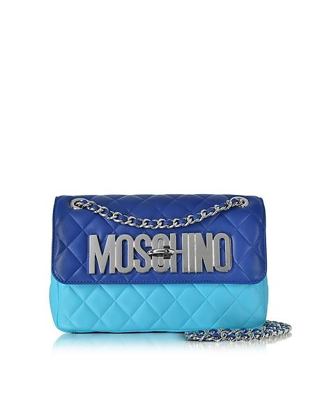 Foto Moschino Borsa con Tracolla in Nappa Matelassé Blu/Azzurro Cielo Borse donna