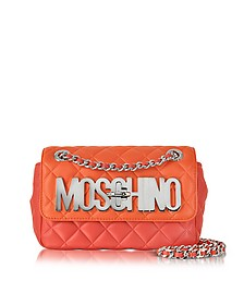 Orange Nappa Leather Color Block Shoulder Bag - Moschino