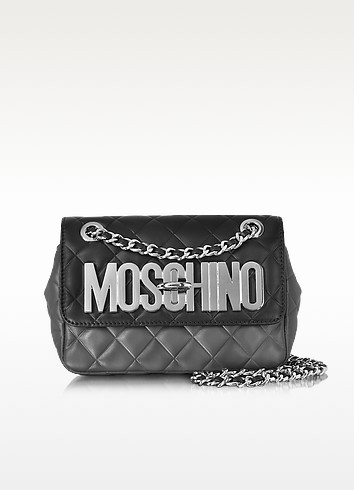 Black and Dark Gray Quilted Leather Shoulder Bag - Moschino
