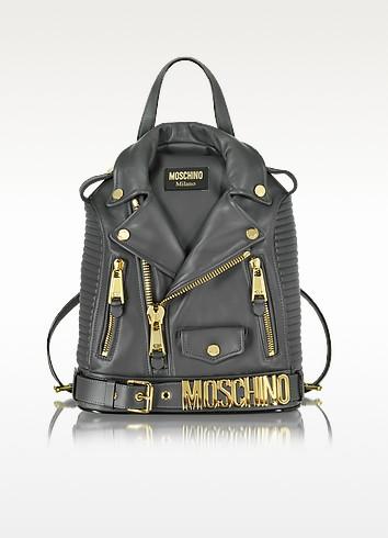 Dark Gray Nappa Leather Backpack - Moschino