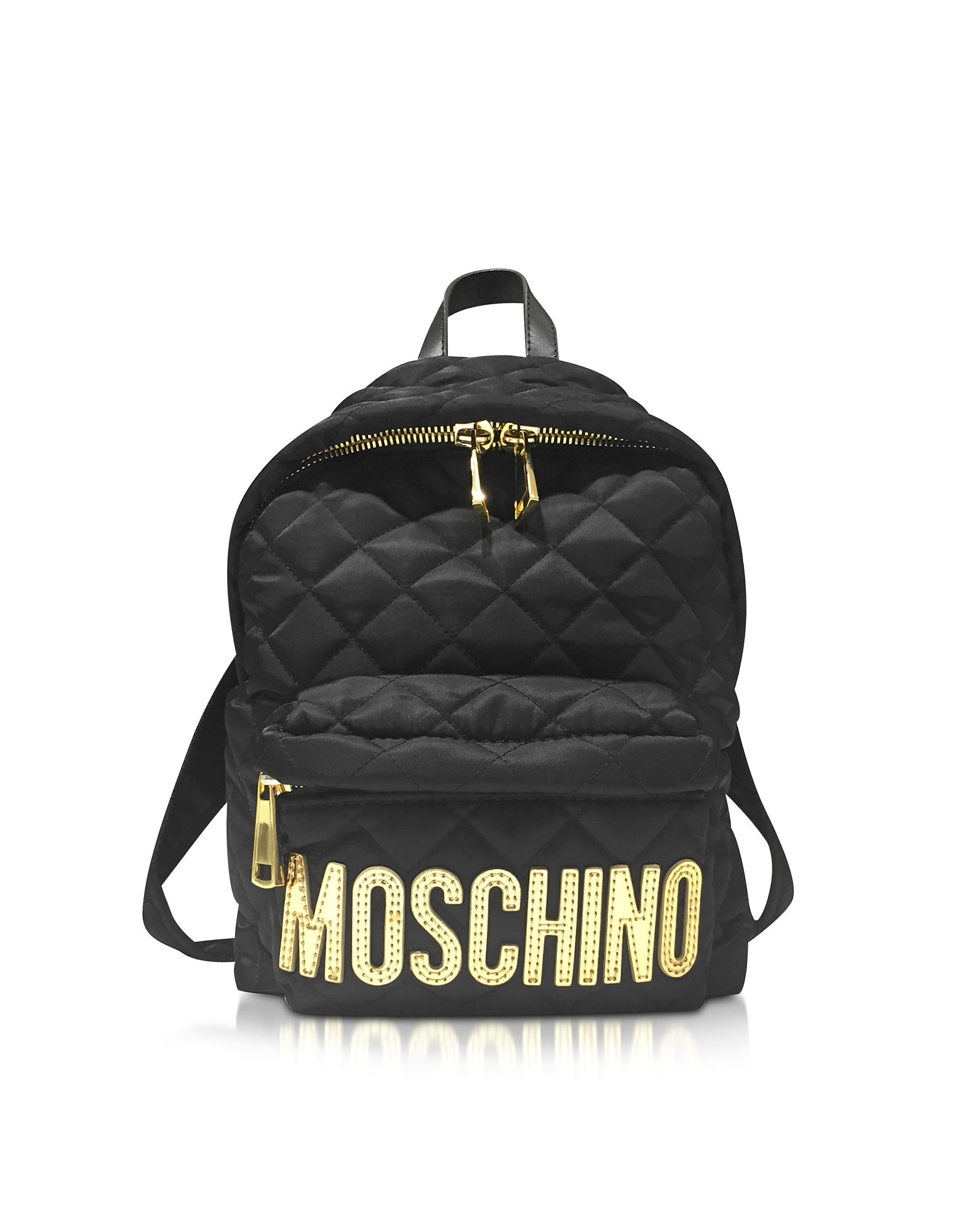 Black Quilted Nylon Small Backpack w/Golden Logo