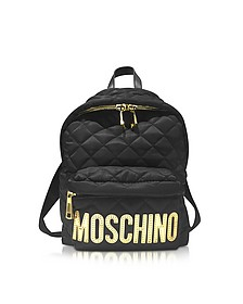 Black Quilted Nylon Backpack - Moschino