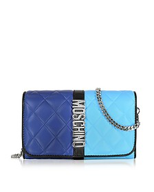 Blue Color Block Nappa Leather Wallet on Chain - Moschino