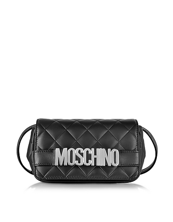 Black Quilted Nappa Leather Crossbody Bag