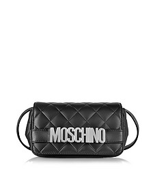 Black Quilted Nappa Leather Crossbody Bag - Moschino