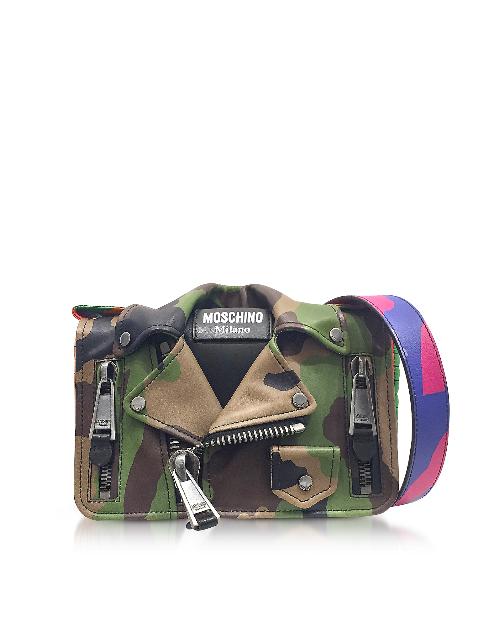 Moschino Handbags, Camo Biker Jacket Printed Leather Shoulder Bag