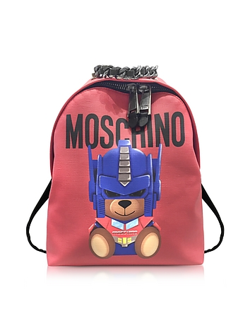 Moschino - Transformers Red Print Polyurethane Backpack w/Logo