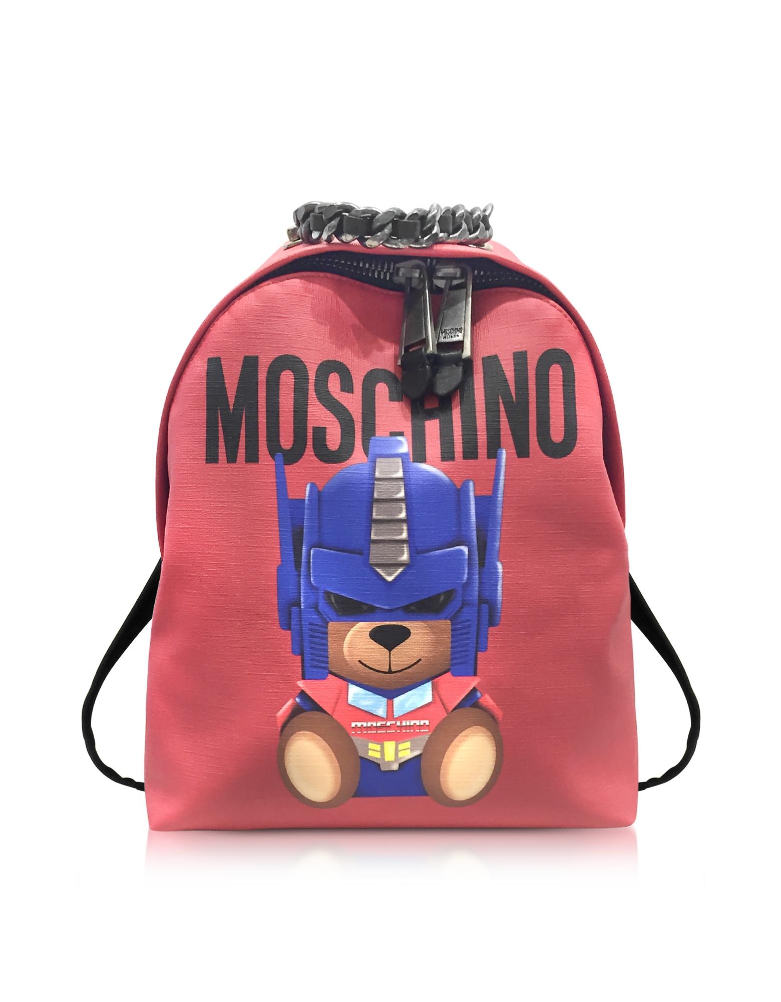 Фото Красный Полиуретановый Рюкзак с Принтом Трансформерс и Логотипом. Купить с доставкой