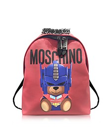 Transformers Red Print Polyurethane Backpack w/Logo - Moschino