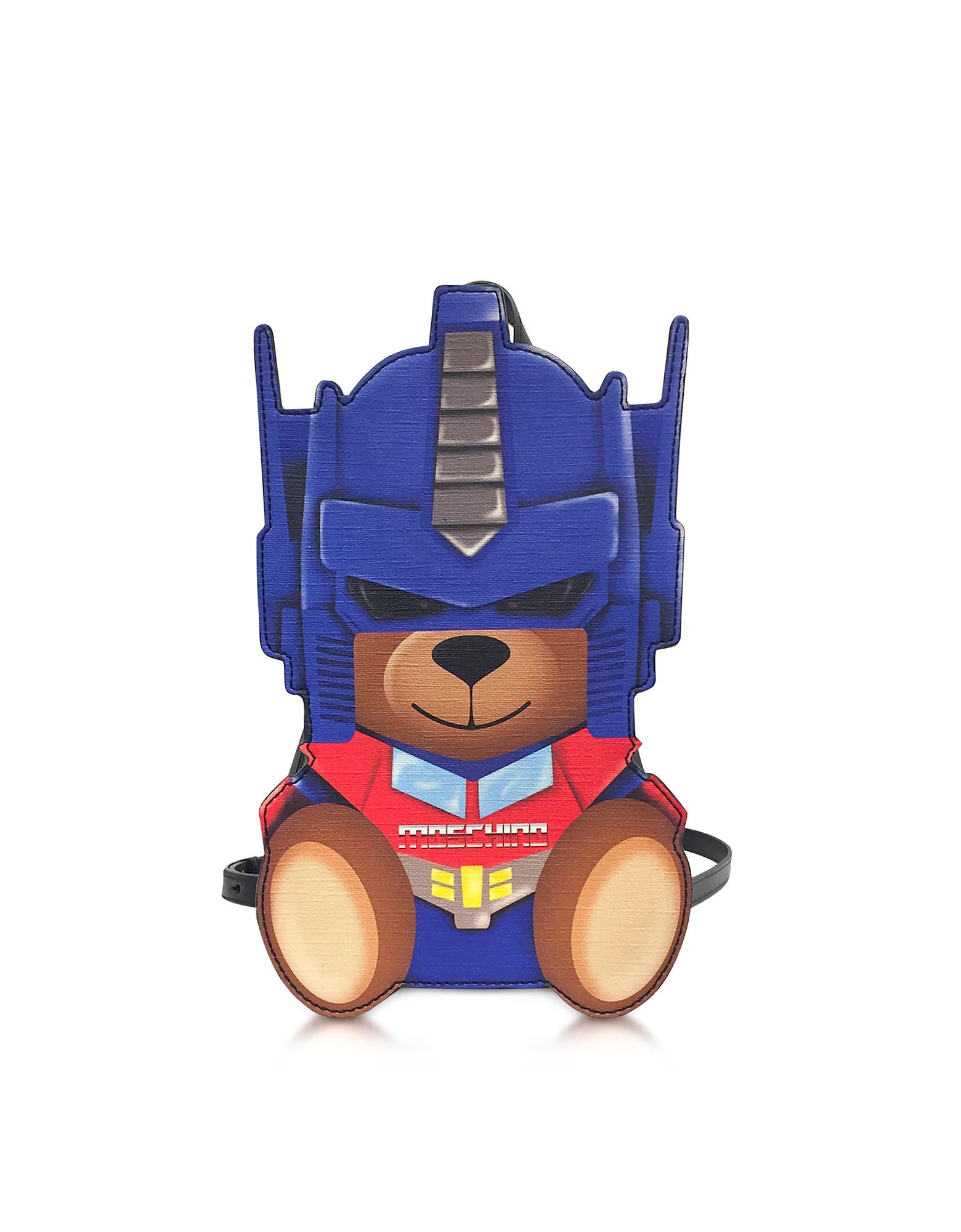 Moschino Transformers Blue Print Polyurethane Backpack