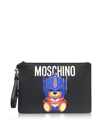Moschino - Transformer Black Print Polyurethane Pochette